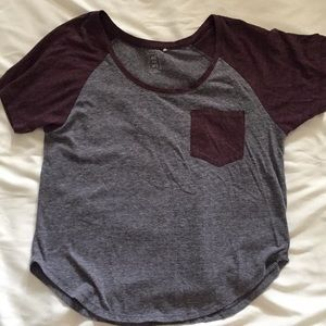 Grey and maroon t-shirt